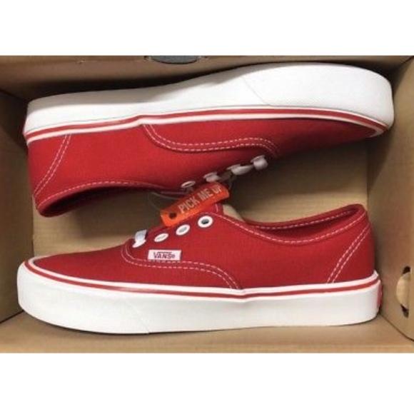 3685b9bd4f Vans Authentic Lite Canvas Red True White Shoes